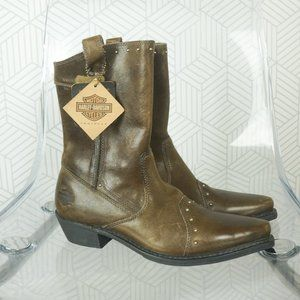 NWT Harley Davidson green leather riding boots